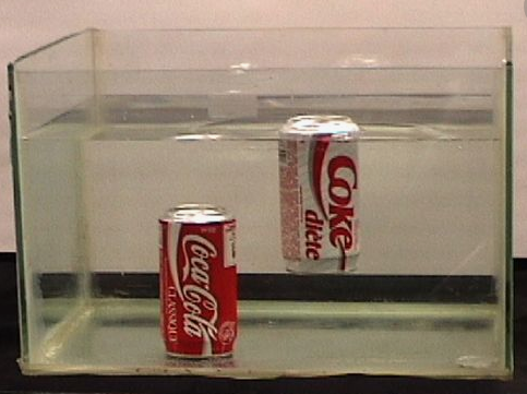 Coke versus Diet Coke Density Demo