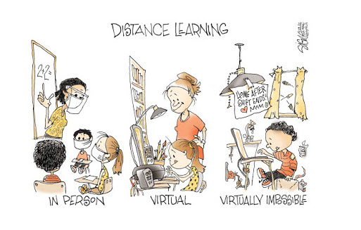 cartoon of distance learning